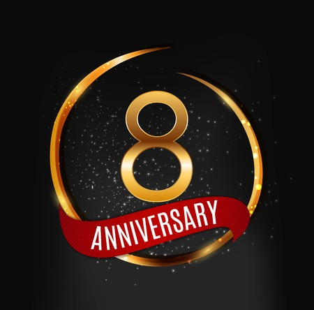 Template Gold Logo 8 Years Anniversary with Red Ribbon Vector Illustration Illustration