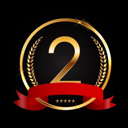 Template Logo 2 Years Anniversary Vector Illustration