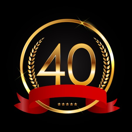 Template Logo 40 Years Anniversary Vector Illustration