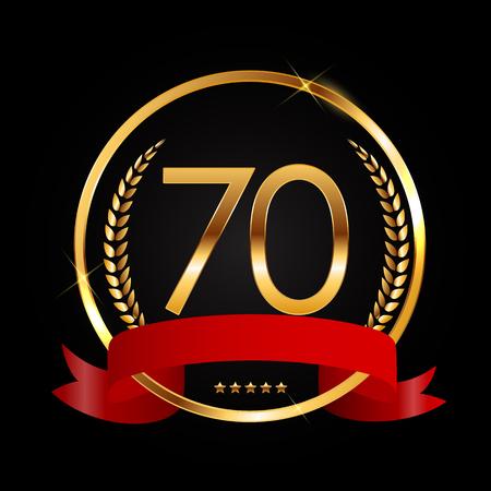 Template Logo 70 Years Anniversary Vector Illustration