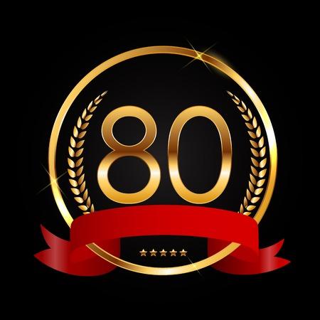 Template Logo 80 Years Anniversary Vector Illustration Illustration