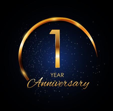 Template Logo 1 Year Anniversary Vector Illustration  イラスト・ベクター素材