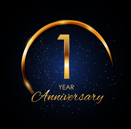 Template Logo 1 Year Anniversary Vector Illustration 일러스트