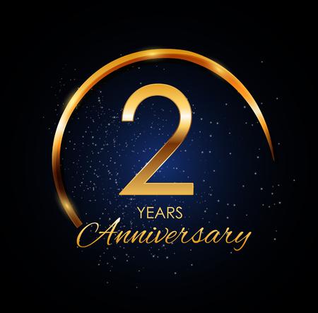 Template Logo 2 Year Anniversary Vector Illustration