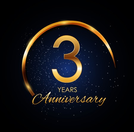 Template Logo 3 Year Anniversary Vector Illustration