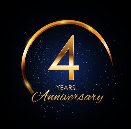 Template Logo 4 Year Anniversary Vector Illustration