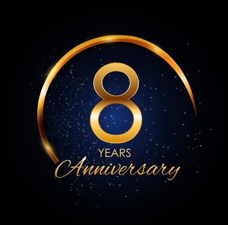 Template Logo 8 Year Anniversary Vector Illustration