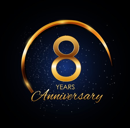Template Logo 8 Year Anniversary Vector Illustration