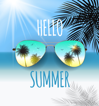 Hello Summer Background with Glass and Palm. Vector Illustration Illustration