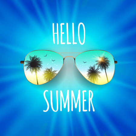 Hello Summer Background with Glass and Palm. Vector Illustration EPS10