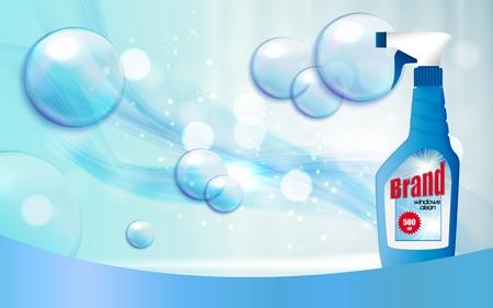 Window Cleaner Bottle Template for Ads vector illustration Vettoriali
