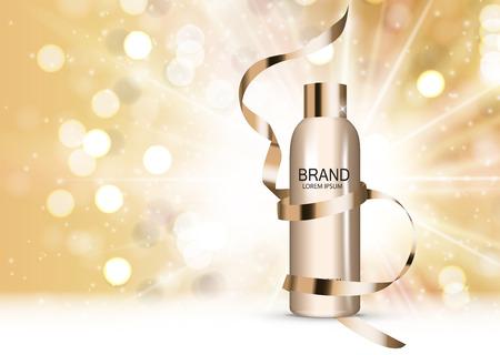 Shower Gel Bottle Template for Ads or Magazine Background. 3D Realistic Vector Illustration
