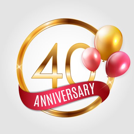 Template Gold Logo 40 Years Anniversary with Ribbon and Balloons Vector Illustration