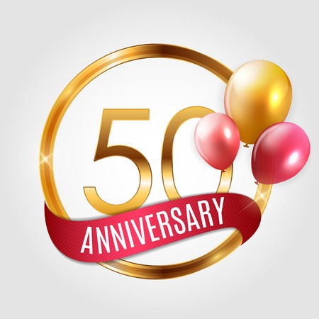 Template Gold Logo for 50 Years Anniversary with Ribbon and Balloons Vector Illustration