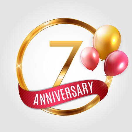 Template Gold Logo 7 Years Anniversary with Ribbon and Balloons Vector Illustration