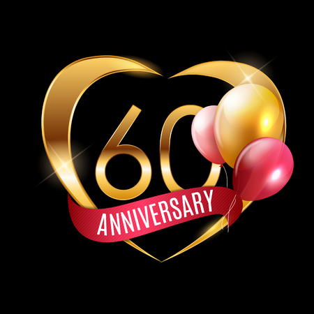 Template Gold Logo 60 Years Anniversary with Ribbon and Balloons Vector Illustration EPS10 Illustration