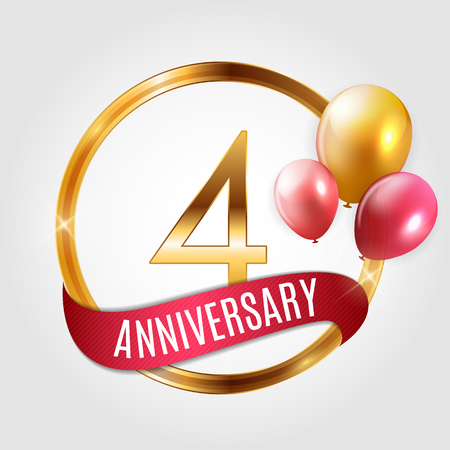 Template Gold Logo 4 Years Anniversary with Ribbon and Balloons Vector Illustration EPS10 Illustration