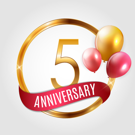 Template Gold Logo 5 Years Anniversary with Ribbon and Balloons Vector Illustration EPS10 Stock Illustratie