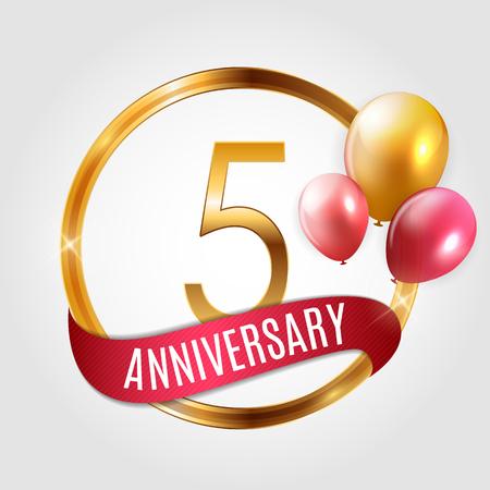 Sjabloon Gouden Logo 5 jaar verjaardag met lint en ballonnen Vector Illustratie EPS10