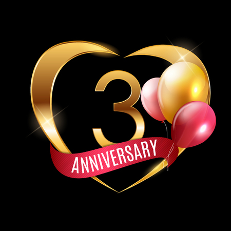 Template Gold Logo 3 Years Anniversary with Ribbon and Balloons Vector Illustration EPS10 Illustration