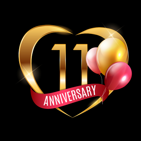 Template Gold Logo 11 Years Anniversary with Ribbon and Balloons Vector Illustration EPS10