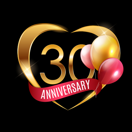 Template Gold Logo 30 Years Anniversary with Ribbon and Balloons Vector Illustration EPS10 Ilustração