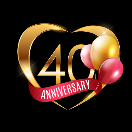 Template Gold Logo 40 Years Anniversary with Ribbon and Balloons Vector Illustration EPS10