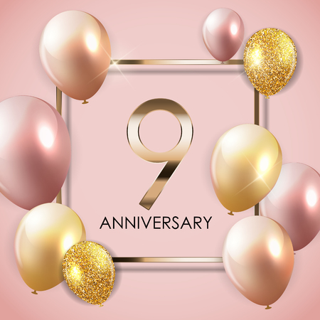 Template 9 Years Anniversary Background with Balloons Vector Illustration EPS10