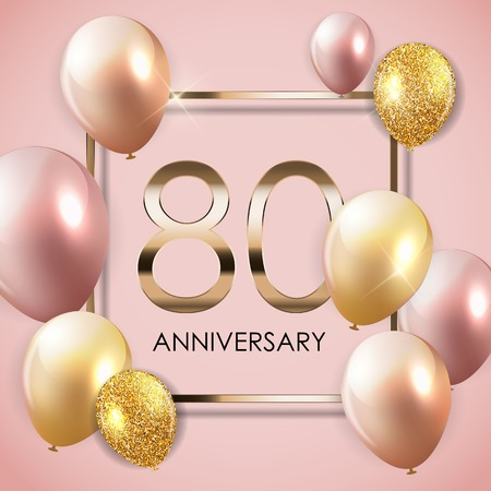 Template 90 Years Anniversary Background with Balloons Vector Illustration EPS10