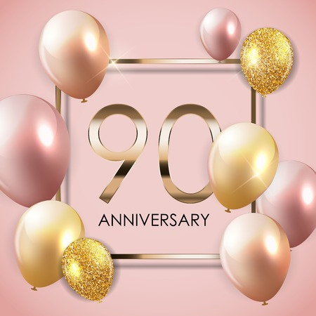 Template 90 Years Anniversary Background with Balloons. Vector Illustration. Vettoriali