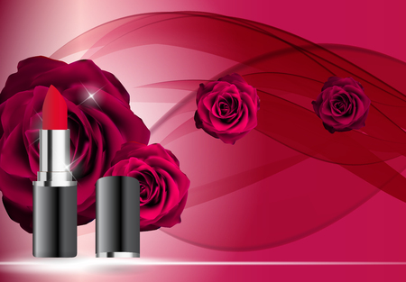 Design Cosmetics Product Lipstick Template for Ads or Magazine Background. 3D Realistic Vector Illustration Illustration