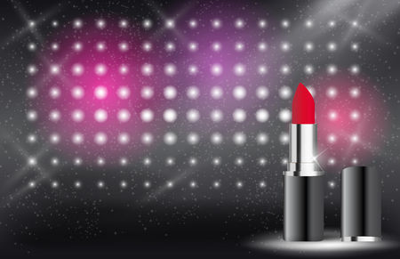 Design Cosmetics Product Lipstick Template for Ads or Magazine Background. 3D Realistic Vector Illustration 矢量图像