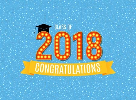 Congratulations on Graduation 2018 Class Background Vector Illustration