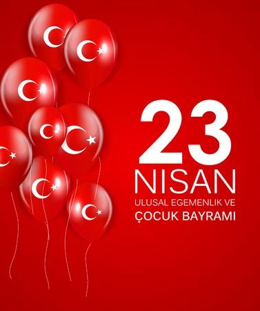 23 nisan cocuk baryrami. Translation: Turkish April 23 Childrens Day Vector Illustration.