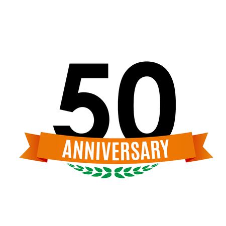 Template 50 Years Anniversary Background with Ribbon Vector Illustration.