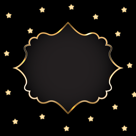 Abstract Card with Golden Frame Vector Illustration 矢量图像