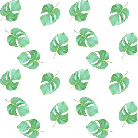 A Seamless Pattern on Colorful naturalistic green leaves on branch Vector Illustration Illustration