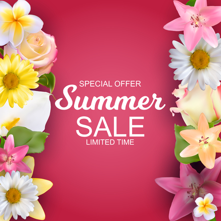Summer Sale concept. Vector Illustration with colorful flowers border.
