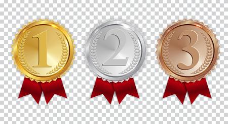 Campeón de la medalla de oro, plata y bronce con el icono de cinta roja firmar primero, segundo y tercer lugar conjunto de colección aislado sobre fondo transparente. Ilustración vectorial