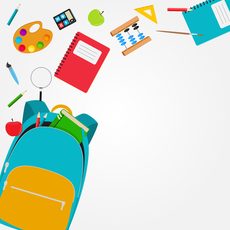 Bolso, icono de mochila con accesorios escolares. Ilustración vectorial Foto de archivo - 102360904