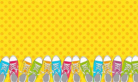 Paar Schuhe auf Farbhintergrund in der Pop-Art-Art-Vektor-Illustration