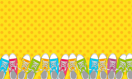 Pair of shoes on color background in Pop Art Style Vector Illustration
