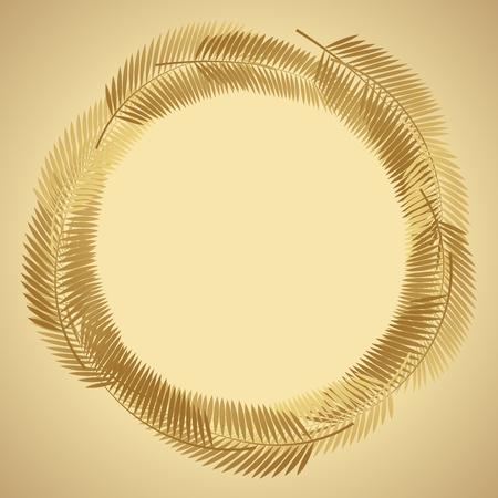 Gold Palm Leaf Vector Background. Vector Illustration