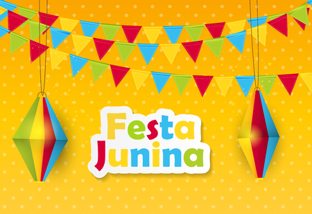Festa Junina Background. Brazil June Festival Design for Greeting Card. Vector Illustration