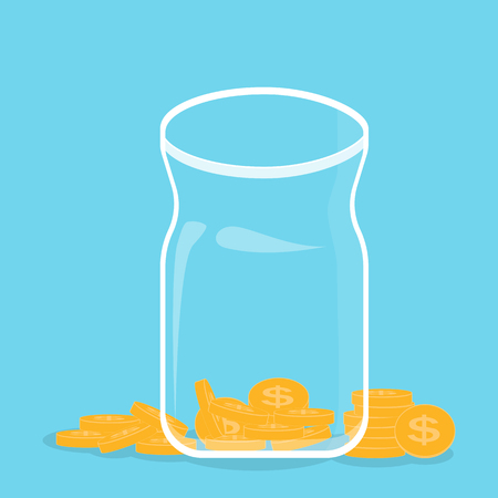 Glass bank with falling gold coins - Contribution to the Future. Vector Illustration Illustration