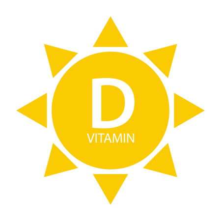 Vitamin D Sun Sign Icon. Vector Illustration Stock Illustratie