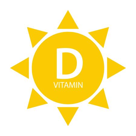 Vitamin D Sun Sign Icon. Vector Illustration Illustration