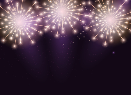 Glossy Fireworks Background Vector Illustration Stock Photo
