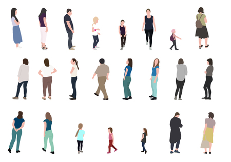 Set of Silhouette Walking People and Children. Vector Illustration. EPS10