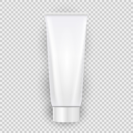 White blank cream bottle template top view with shadow isolated on transparent background. Vector Illustration EPS10